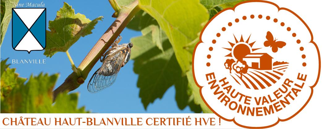 Château Haut-Blanville, certifié HVE!
