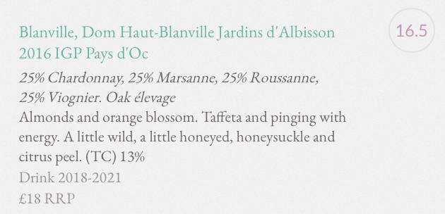Commentaire Jancis Robinson Jardin d'Albisson
